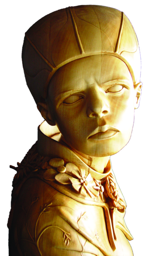 Stefanie Rocknak Facial Expressions Wood Sculpture workshop example
