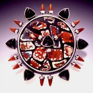 Barbara Minor -Red Stones Pin with Onyx Triangles, Carnelian Bullets in Silver Pocosin Arts