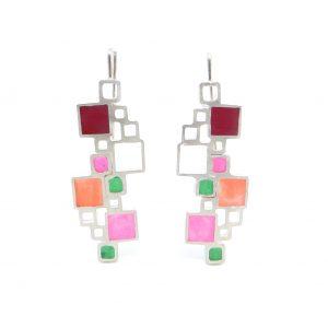 Doubles Open Squares Earrings - Maroon, Pink, Orange, Green - Wendy Jo New