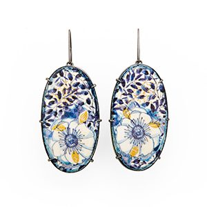 Blue & White Painted Oval Earrings