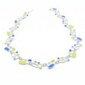 Organic Geometrics Necklace - Apple Green, Blue, Turquoise - Wendy Jo New